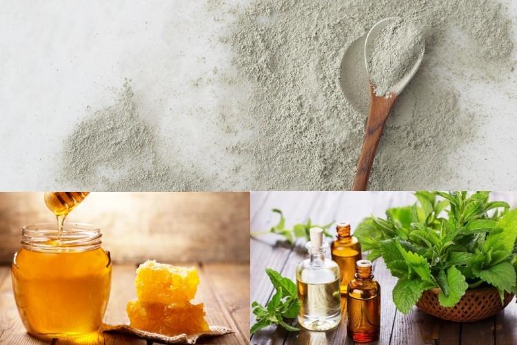 Bột đất sét, mật ong và tinh dầu bạc hà