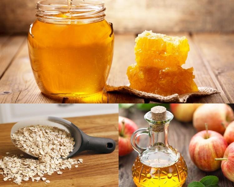 Bột yến mạch, giấm táo và mật ong
