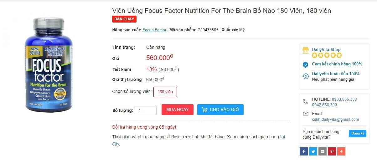 Focus Factor 180 viên, thuốc bổ não Focus Factor có tốt không, cách sử dụng thuốc bổ não Focus Factor, thuốc Focus Factor kid, thuốc Focus Factor có tác dụng gì, thuốc focus kid, thuốc Focus Factor liệu dụng, cách dụng thuốc Focus Factor