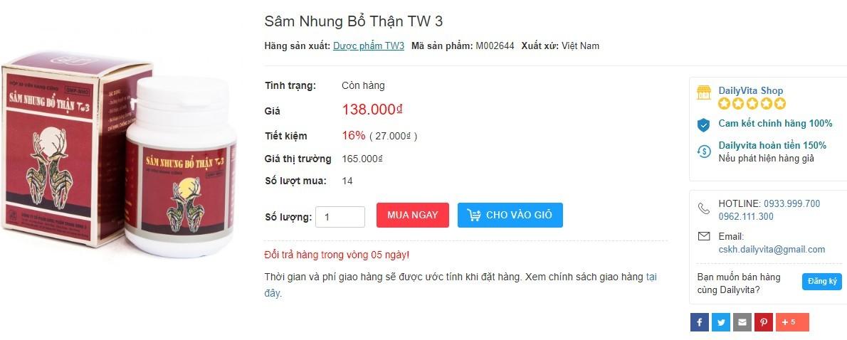 Sâm Nhung Bổ Thận TW 3, sâm nhung bổ thận tw3 webtretho, review Sâm Nhung Bổ Thận Trung Ương 3
